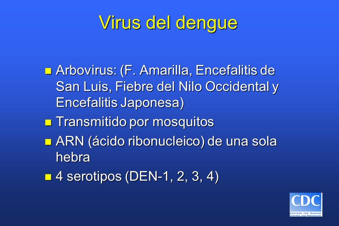 Virus del dengue Arbovirus: (F. Amarilla, Encefalitis de San Luis, Fiebre del Nilo Occidental y Encefalitis Japonesa)