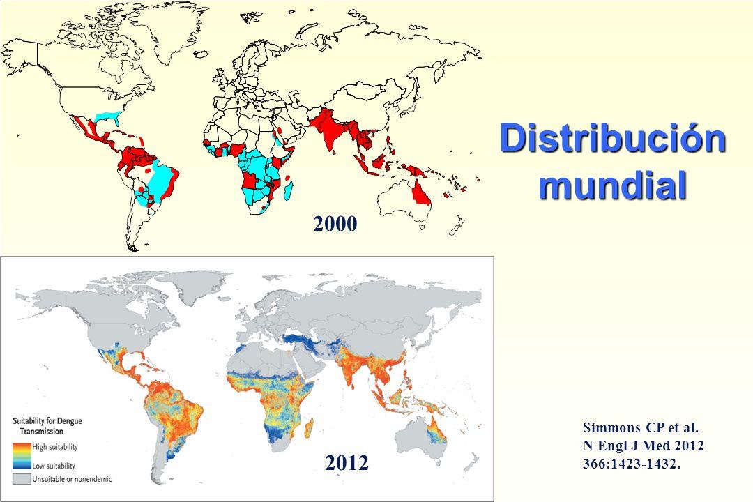 Distribución mundial 2000 2012 Simmons CP et al. N Engl J Med 2012