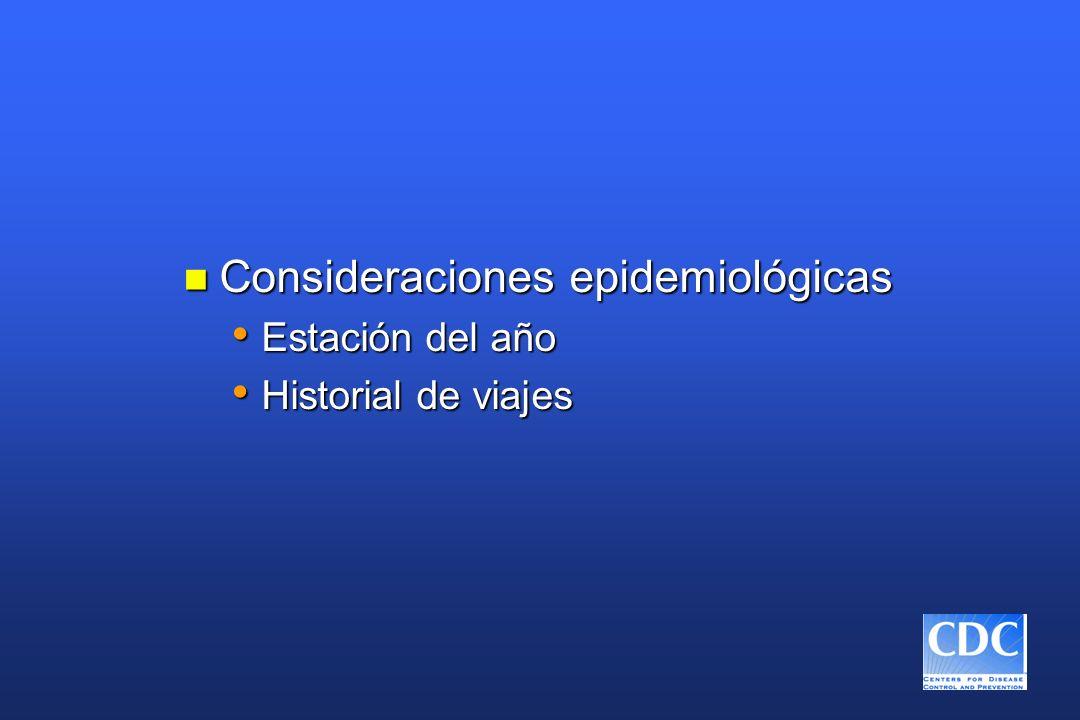 Consideraciones epidemiológicas