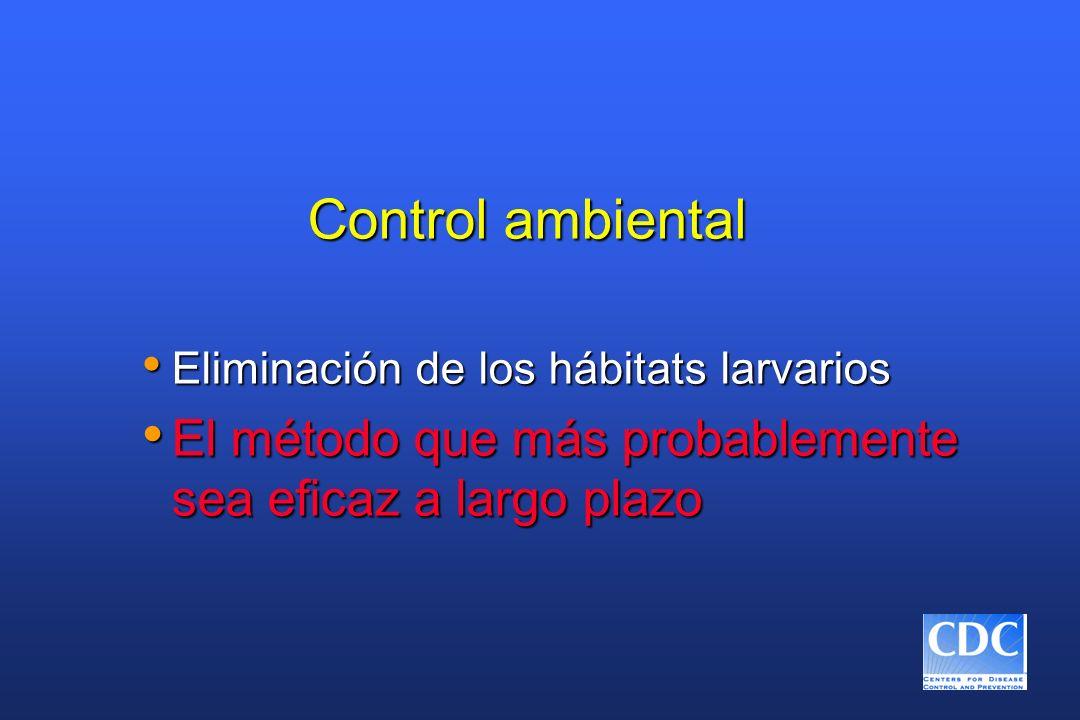 Control ambiental Eliminación de los hábitats larvarios.