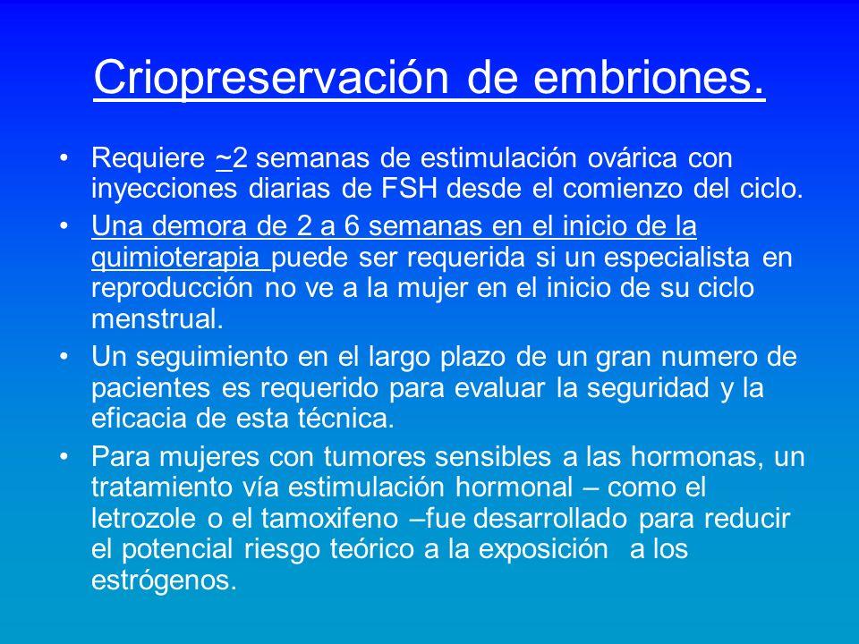 Criopreservación de embriones.