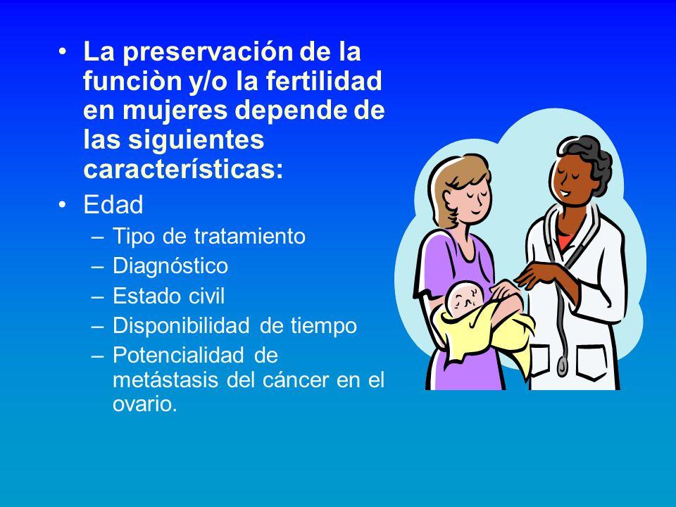 La preservación de la funciòn y/o la fertilidad en mujeres depende de las siguientes características: