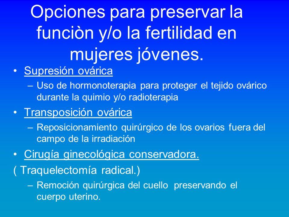 Opciones para preservar la funciòn y/o la fertilidad en mujeres jóvenes.
