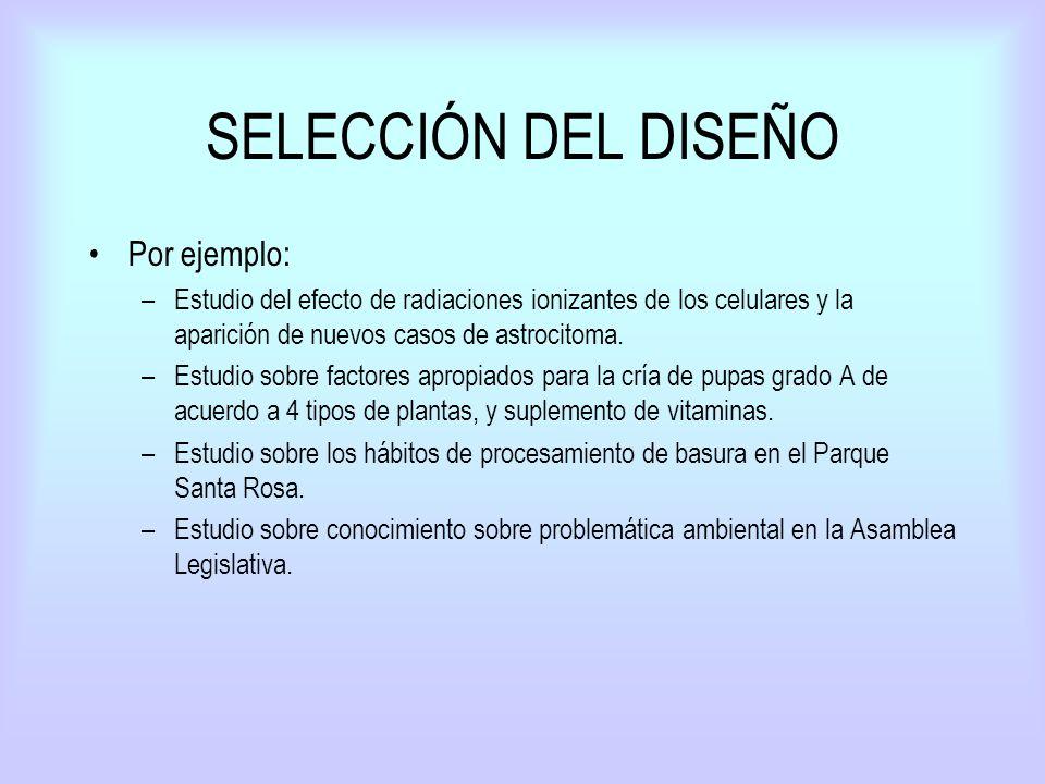 SELECCIÓN DEL DISEÑO Por ejemplo: