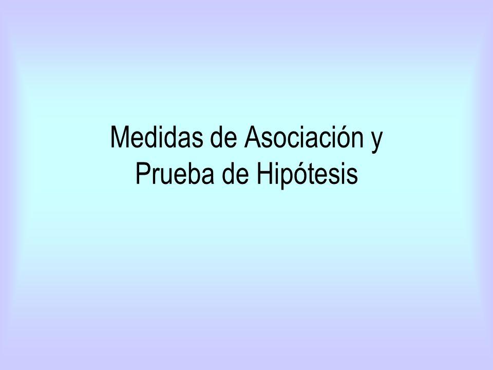 Medidas de Asociación y Prueba de Hipótesis