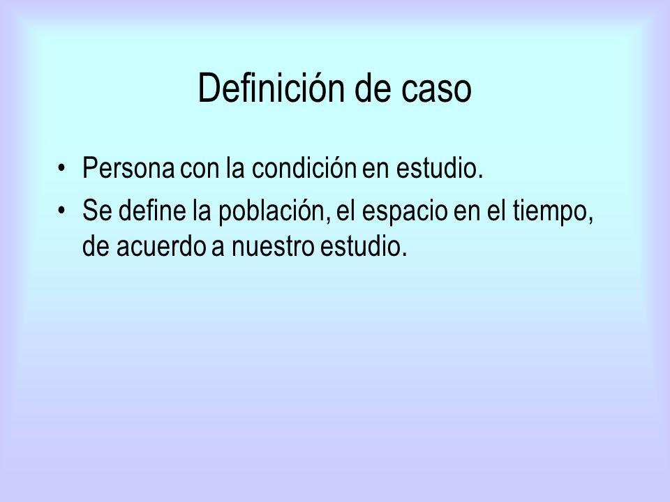 Definición de caso Persona con la condición en estudio.