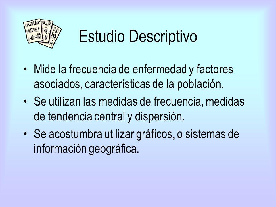 Estudio Descriptivo Mide la frecuencia de enfermedad y factores asociados, características de la población.