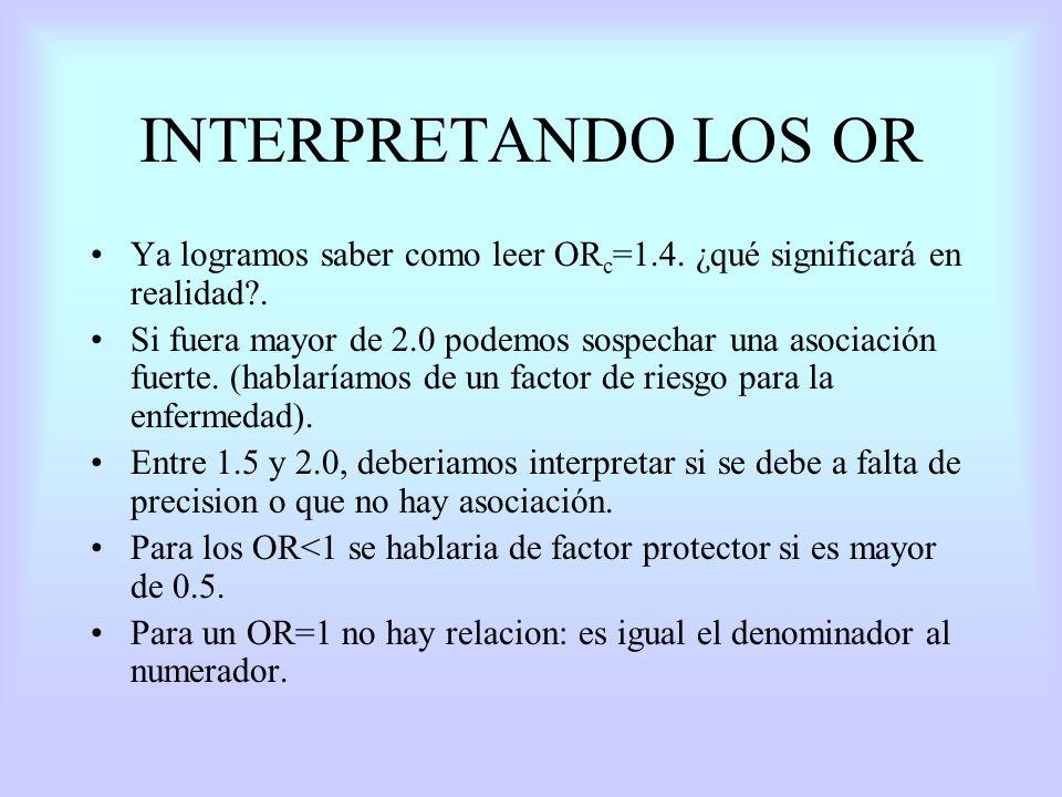 INTERPRETANDO LOS OR Ya logramos saber como leer ORc=1.4. ¿qué significará en realidad .