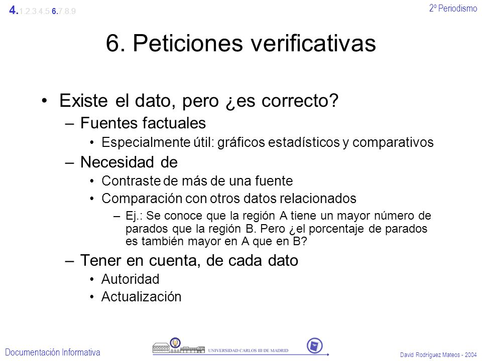 6. Peticiones verificativas