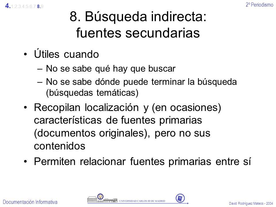8. Búsqueda indirecta: fuentes secundarias