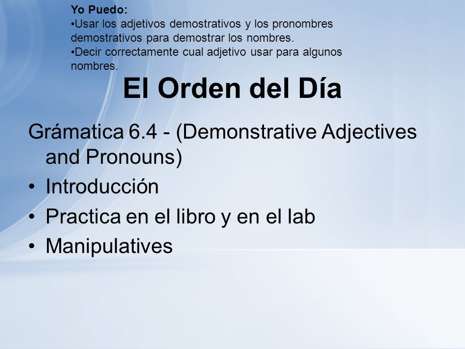 Yo Puedo: Usar los adjetivos demostrativos y los pronombres demostrativos para demostrar los nombres.