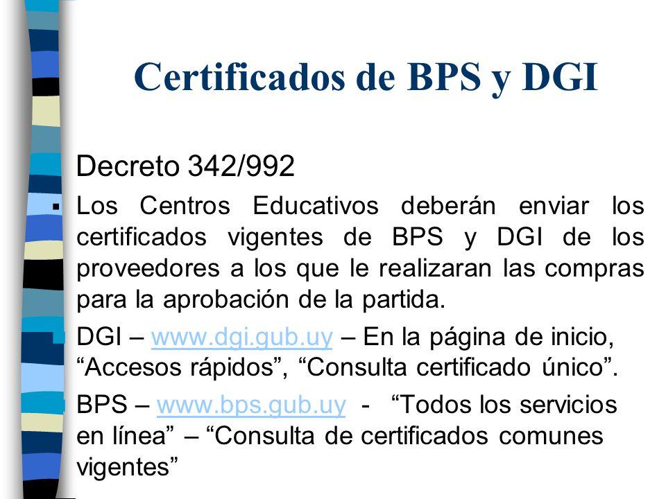 Certificados de BPS y DGI