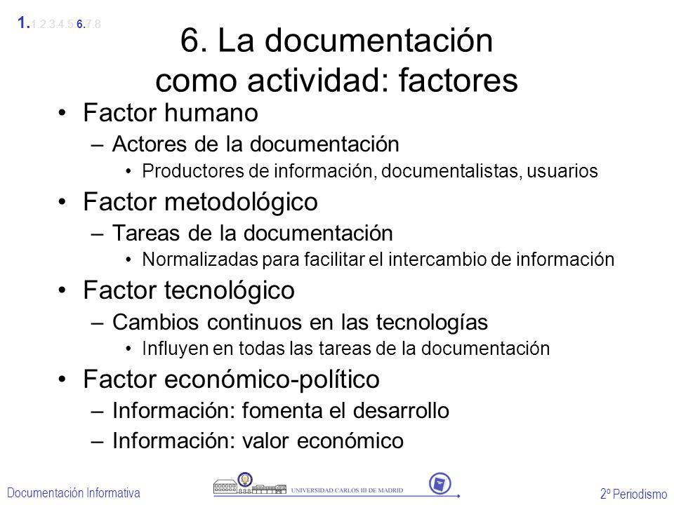 6. La documentación como actividad: factores