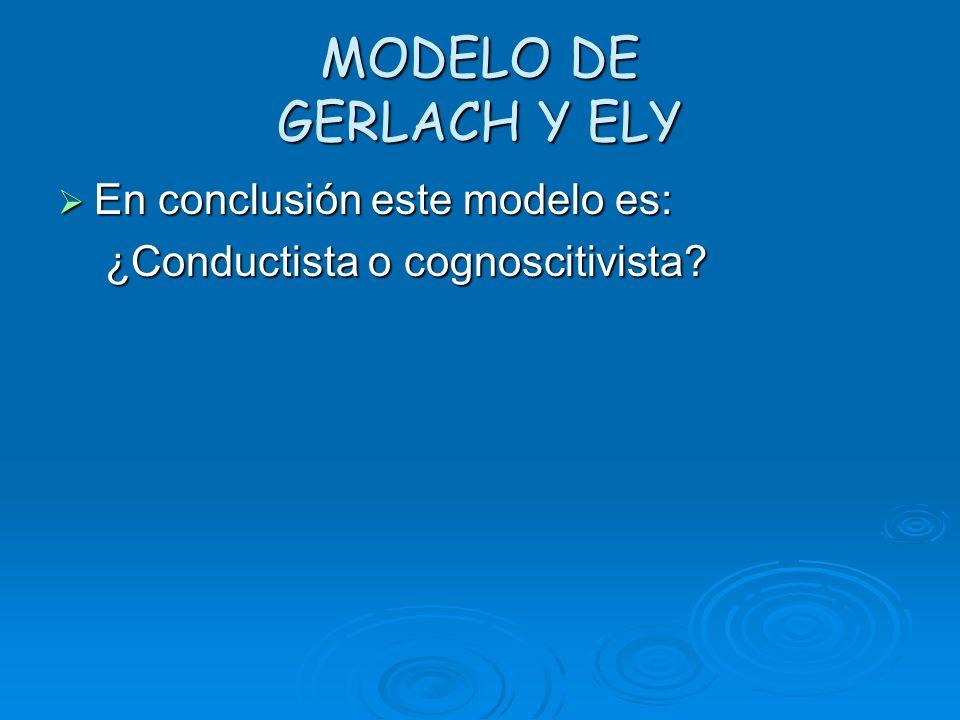MODELO DE GERLACH Y ELY En conclusión este modelo es:
