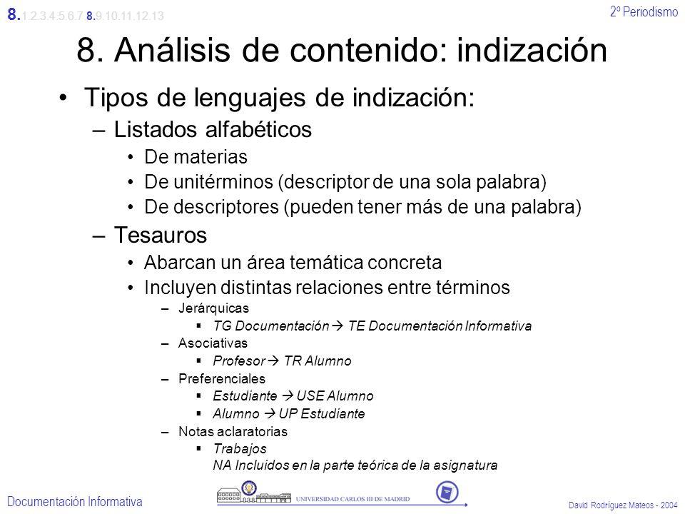 8. Análisis de contenido: indización