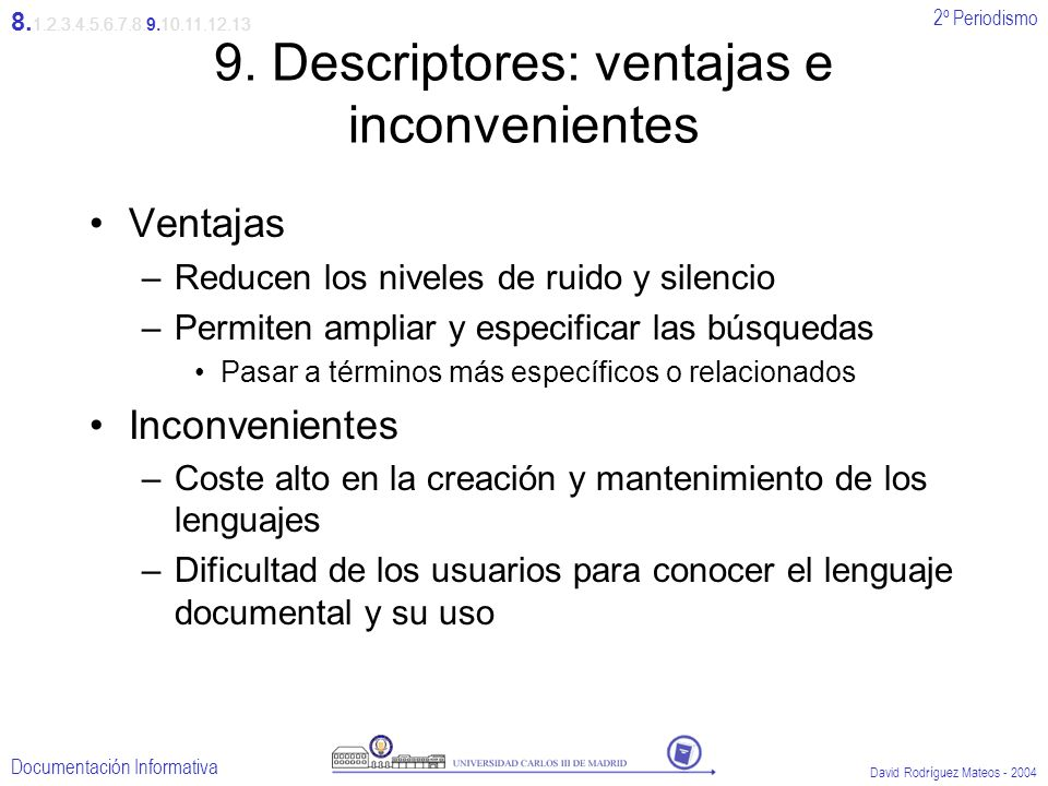 9. Descriptores: ventajas e inconvenientes