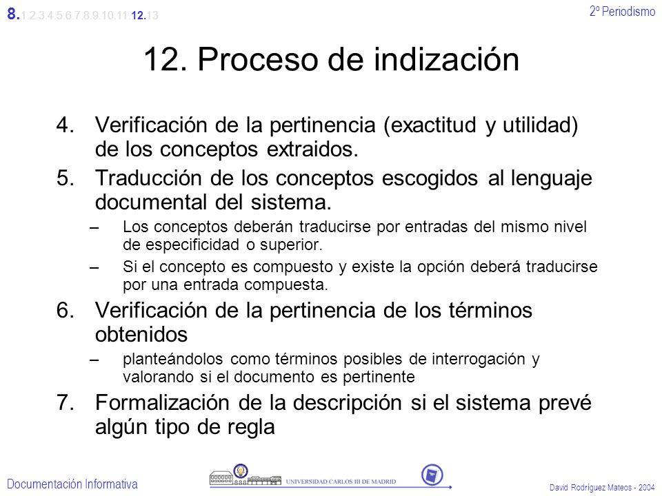 8.1.2.3.4.5.6.7.8.9.10.11.12.1312. Proceso de indización. Verificación de la pertinencia (exactitud y utilidad) de los conceptos extraidos.