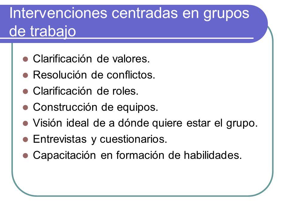 Intervenciones centradas en grupos de trabajo