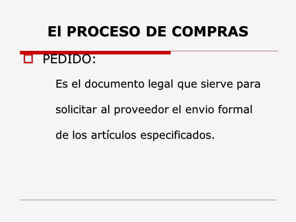 El PROCESO DE COMPRAS PEDIDO: