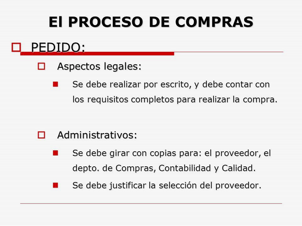 El PROCESO DE COMPRAS PEDIDO: Aspectos legales: Administrativos: