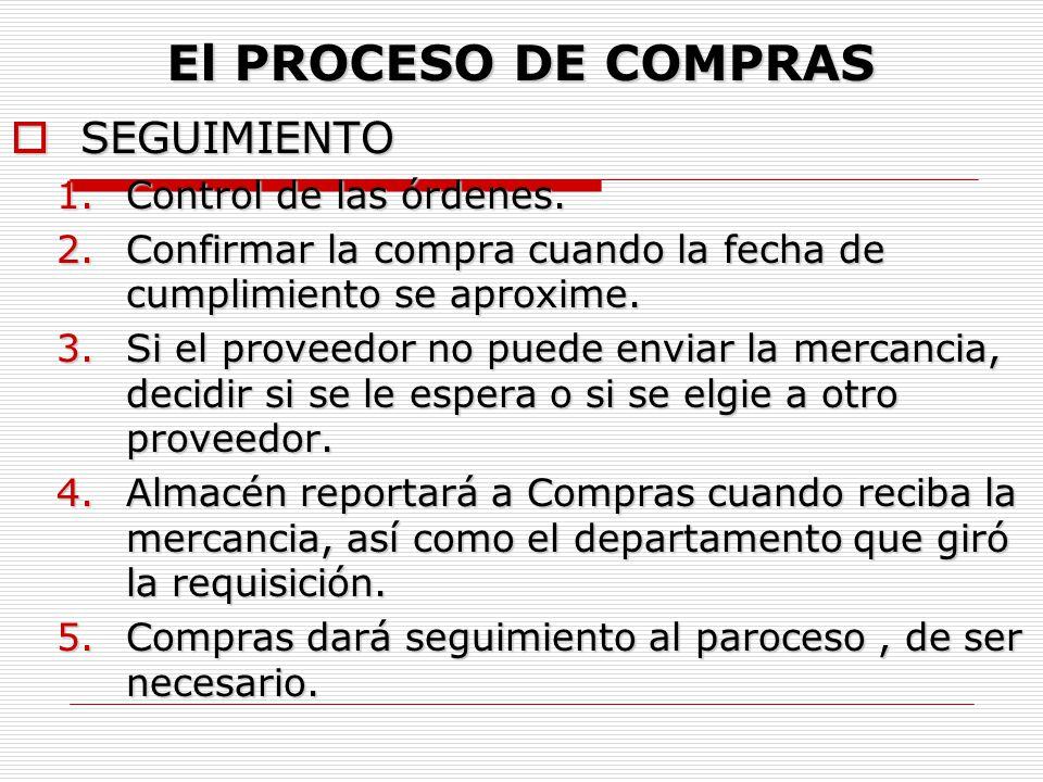 El PROCESO DE COMPRAS SEGUIMIENTO Control de las órdenes.