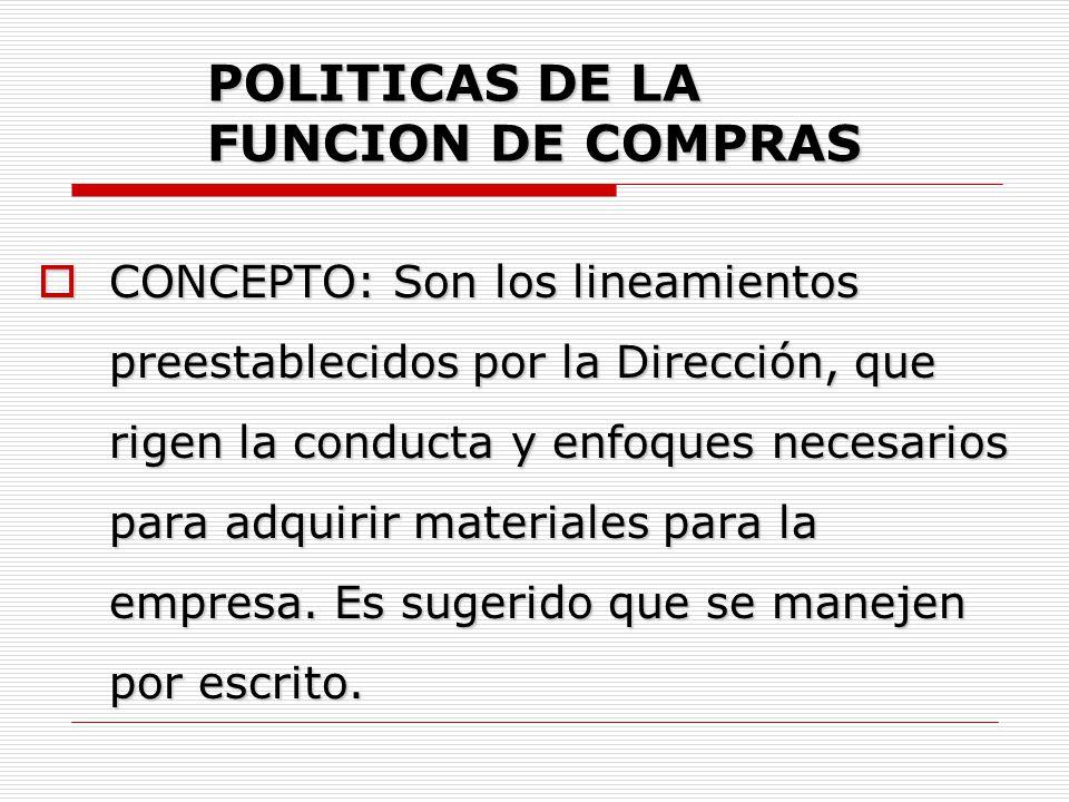 POLITICAS DE LA FUNCION DE COMPRAS