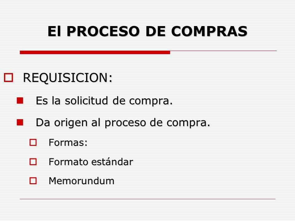 El PROCESO DE COMPRAS REQUISICION: Es la solicitud de compra.