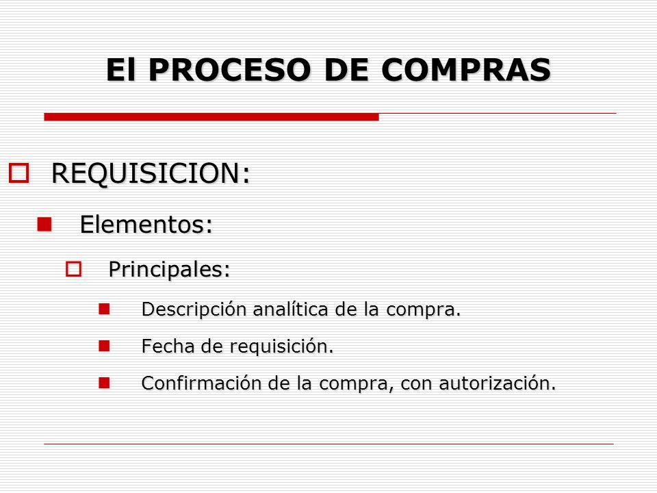 El PROCESO DE COMPRAS REQUISICION: Elementos: Principales: