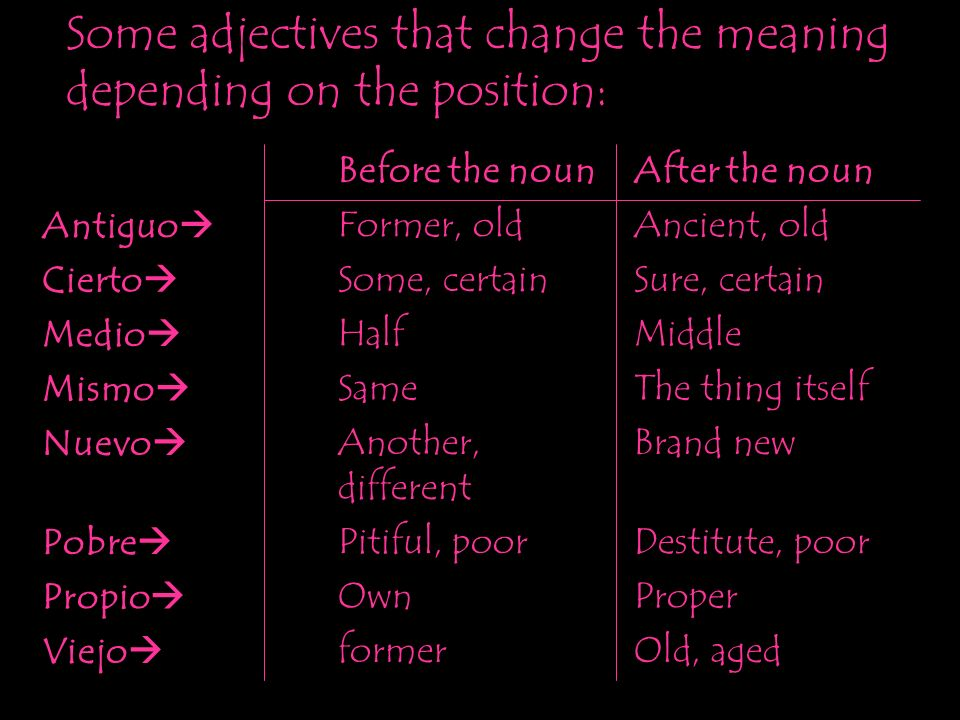 Some adjectives that change the meaning depending on the position: