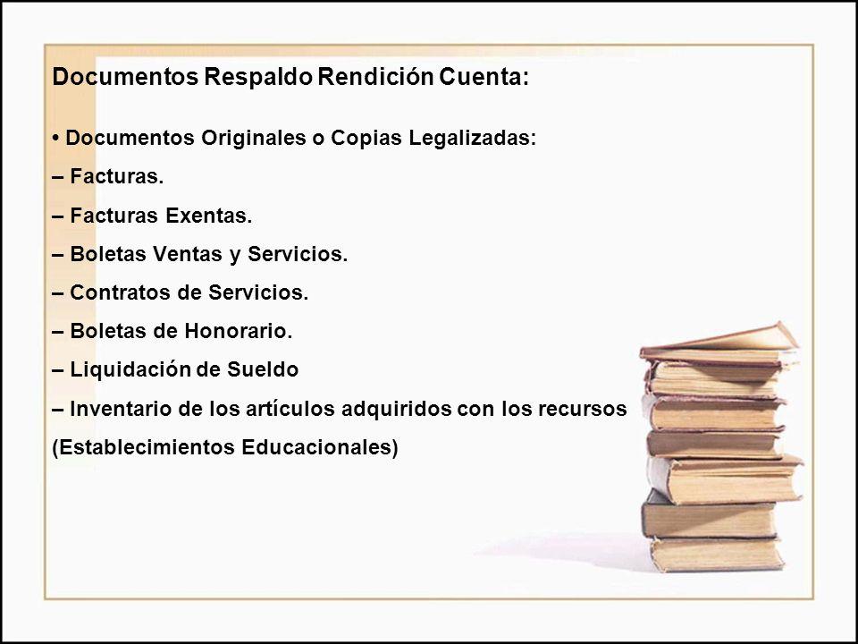 Documentos Respaldo Rendición Cuenta: