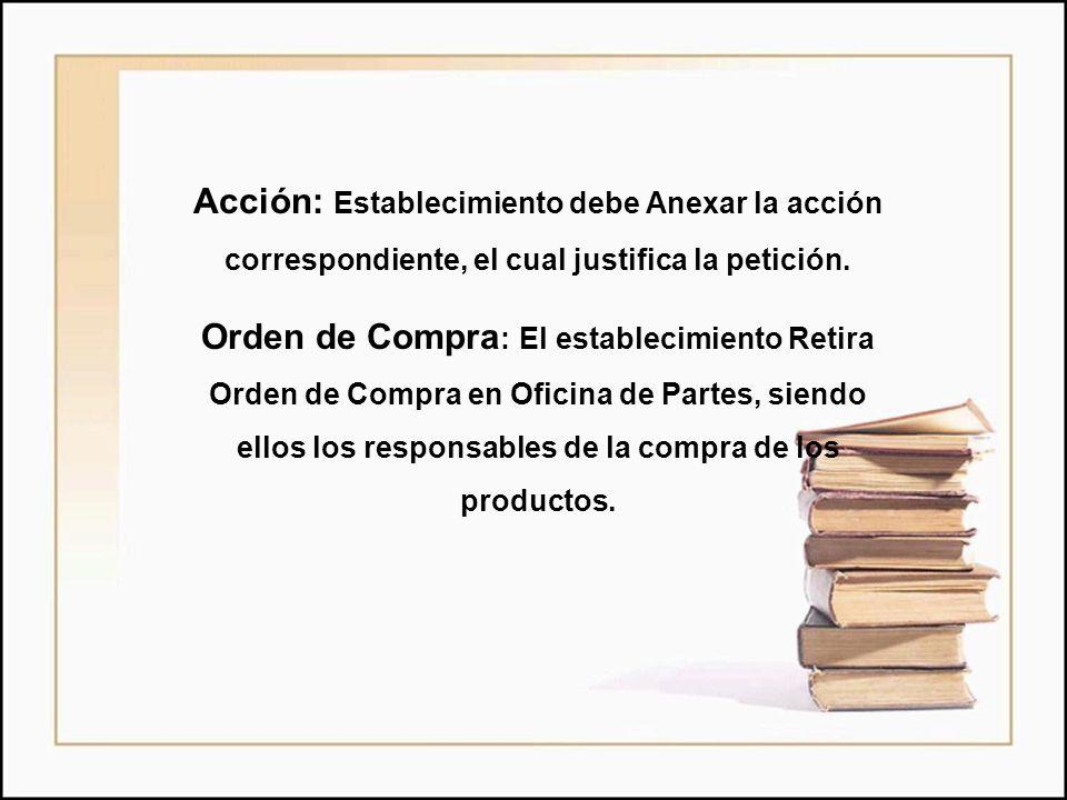 Acción: Establecimiento debe Anexar la acción correspondiente, el cual justifica la petición.