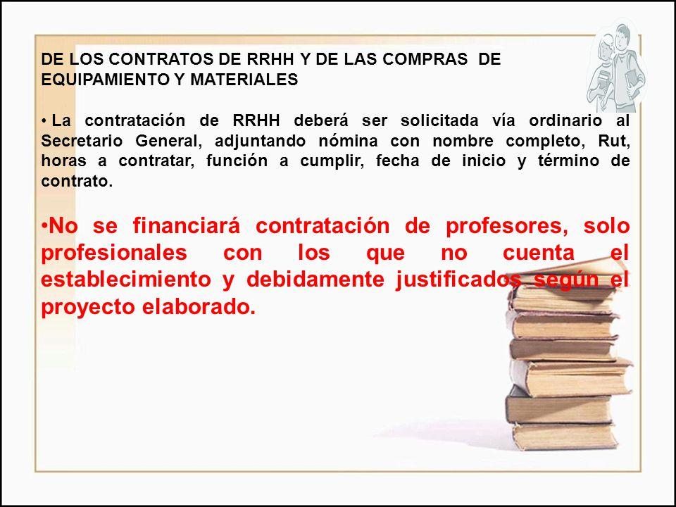 DE LOS CONTRATOS DE RRHH Y DE LAS COMPRAS DE EQUIPAMIENTO Y MATERIALES