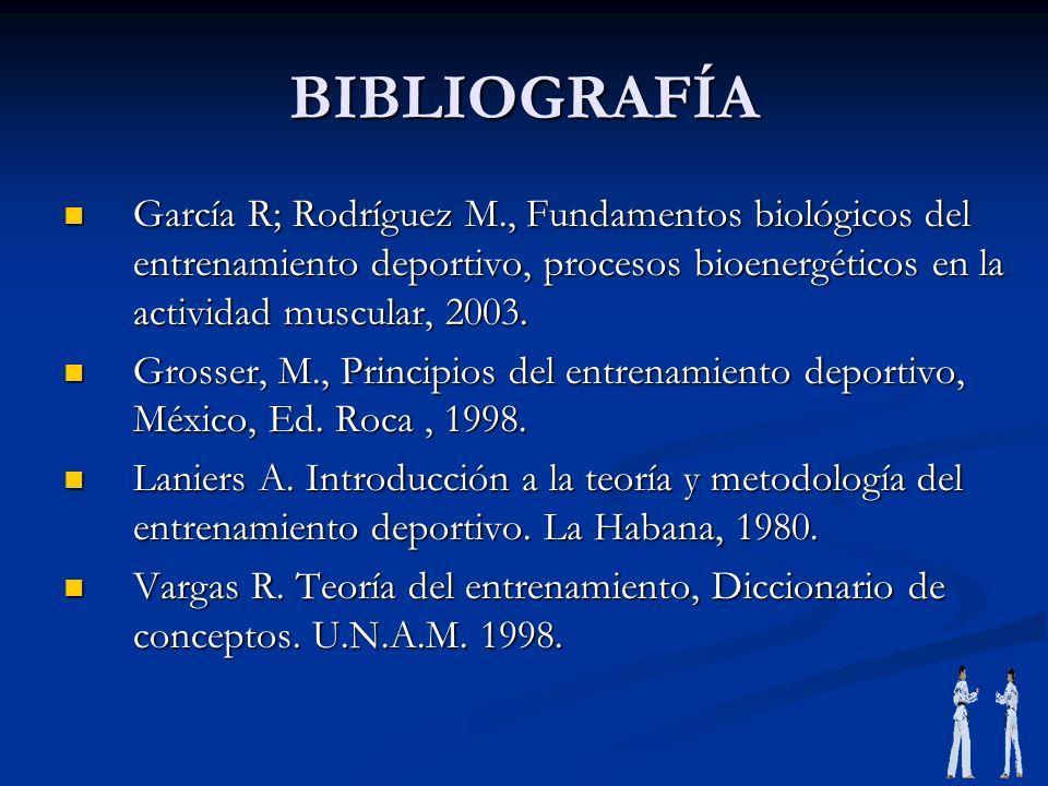 BIBLIOGRAFÍAGarcía R; Rodríguez M., Fundamentos biológicos del entrenamiento deportivo, procesos bioenergéticos en la actividad muscular, 2003.