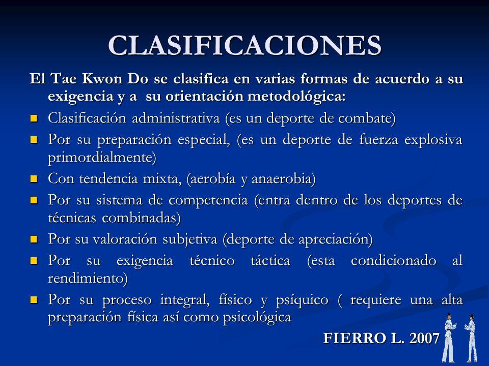 CLASIFICACIONES El Tae Kwon Do se clasifica en varias formas de acuerdo a su exigencia y a su orientación metodológica: