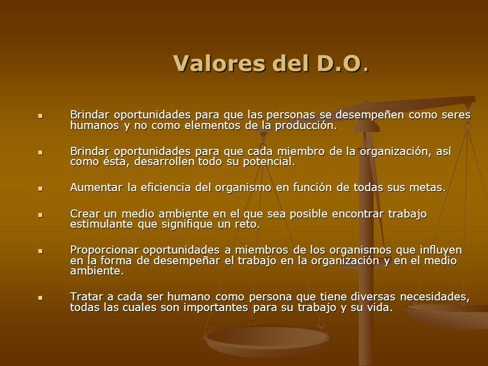 Valores del D.O. Brindar oportunidades para que las personas se desempeñen como seres humanos y no como elementos de la producción.