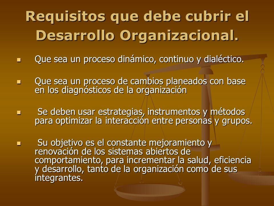 Requisitos que debe cubrir el Desarrollo Organizacional.