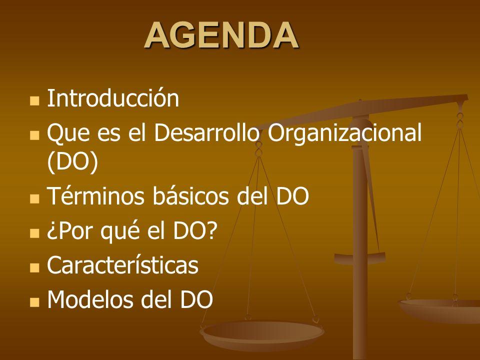 AGENDA Introducción Que es el Desarrollo Organizacional (DO)