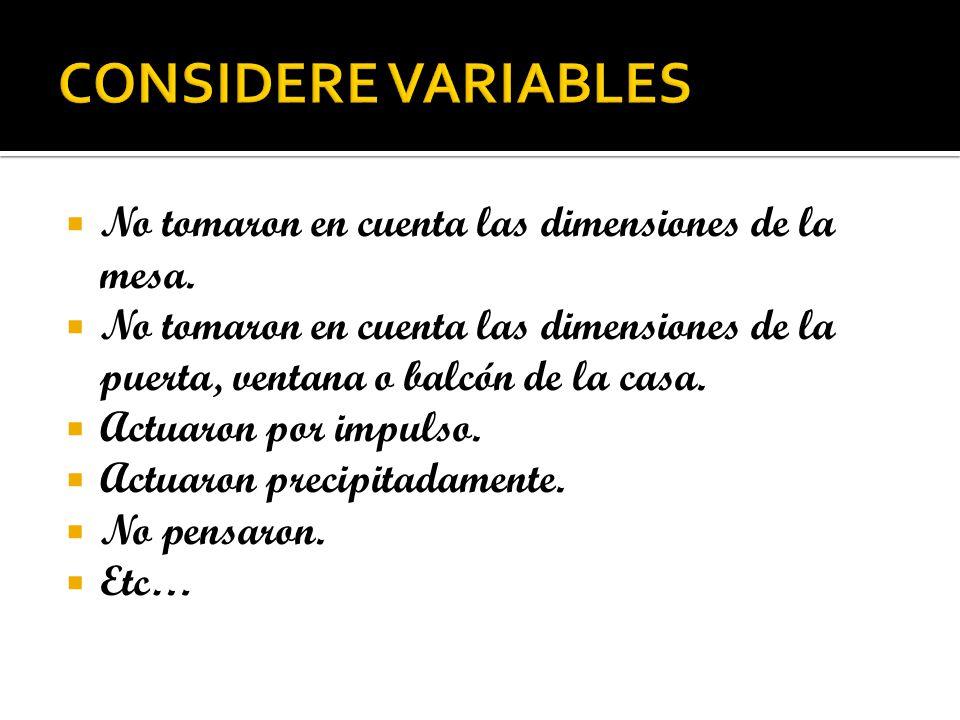 CONSIDERE VARIABLES No tomaron en cuenta las dimensiones de la mesa.