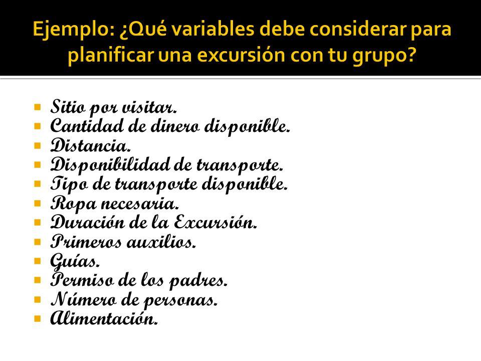 Ejemplo: ¿Qué variables debe considerar para planificar una excursión con tu grupo