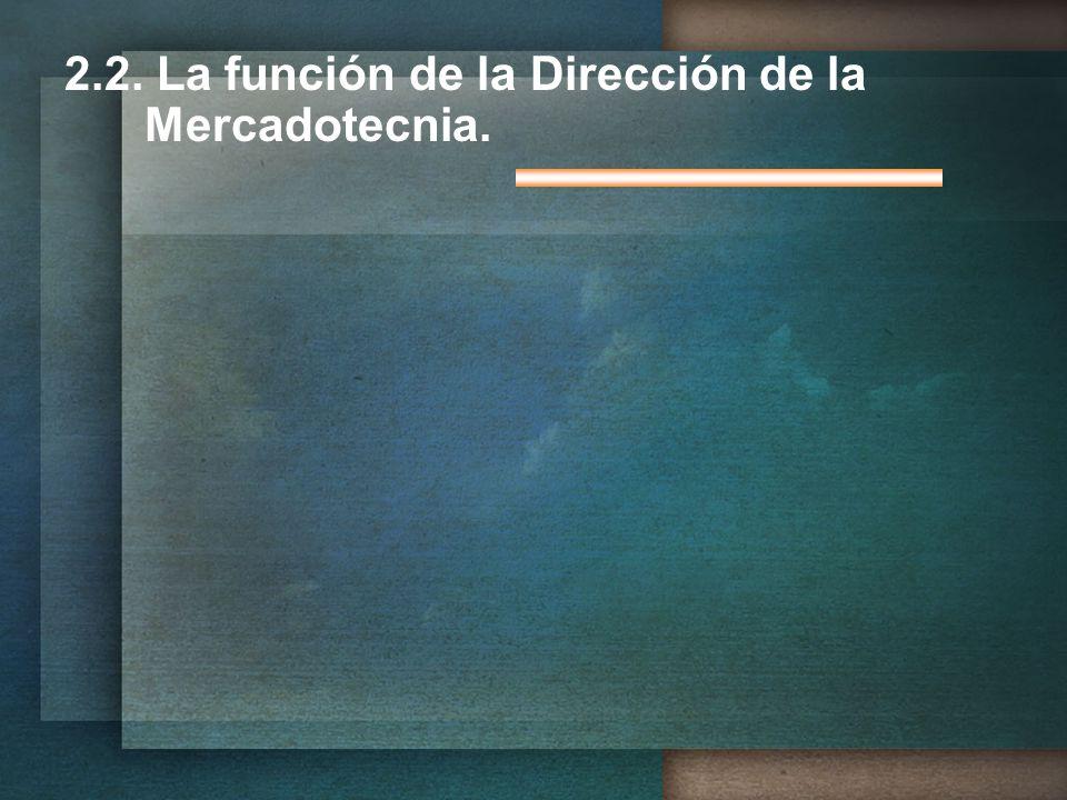 2.2. La función de la Dirección de la Mercadotecnia.