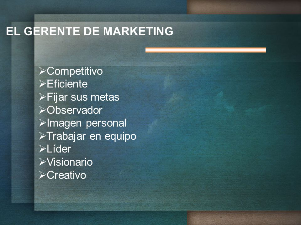 EL GERENTE DE MARKETING
