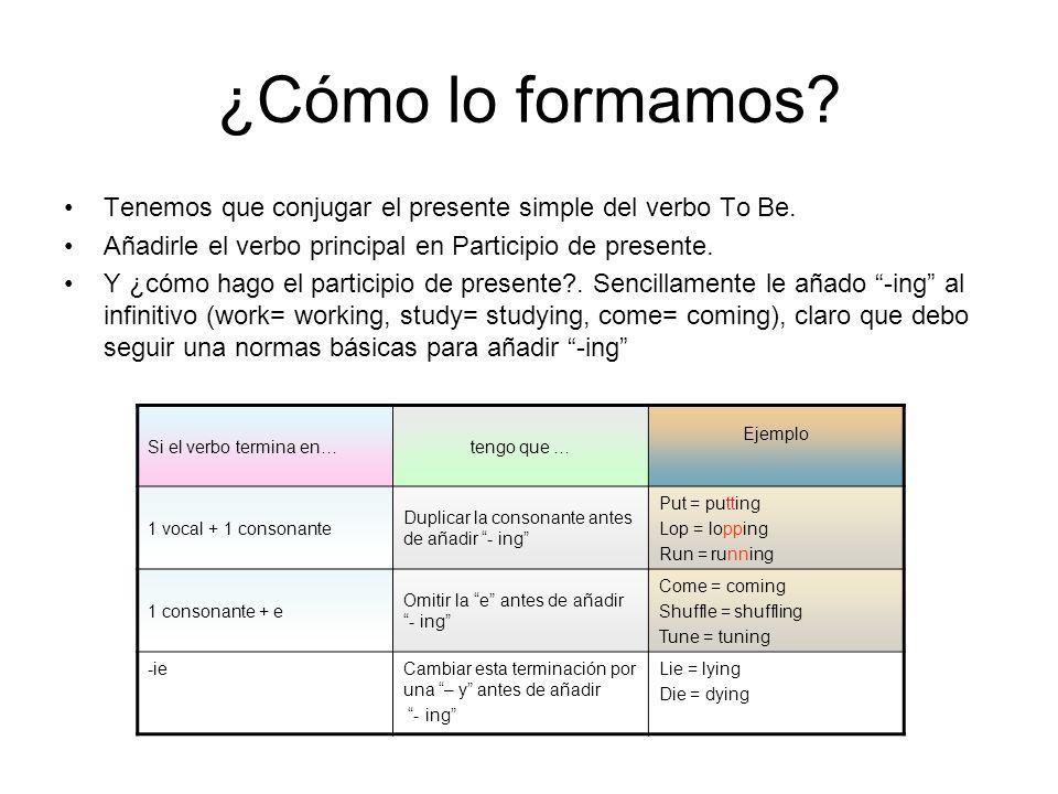 ¿Cómo lo formamos Tenemos que conjugar el presente simple del verbo To Be. Añadirle el verbo principal en Participio de presente.