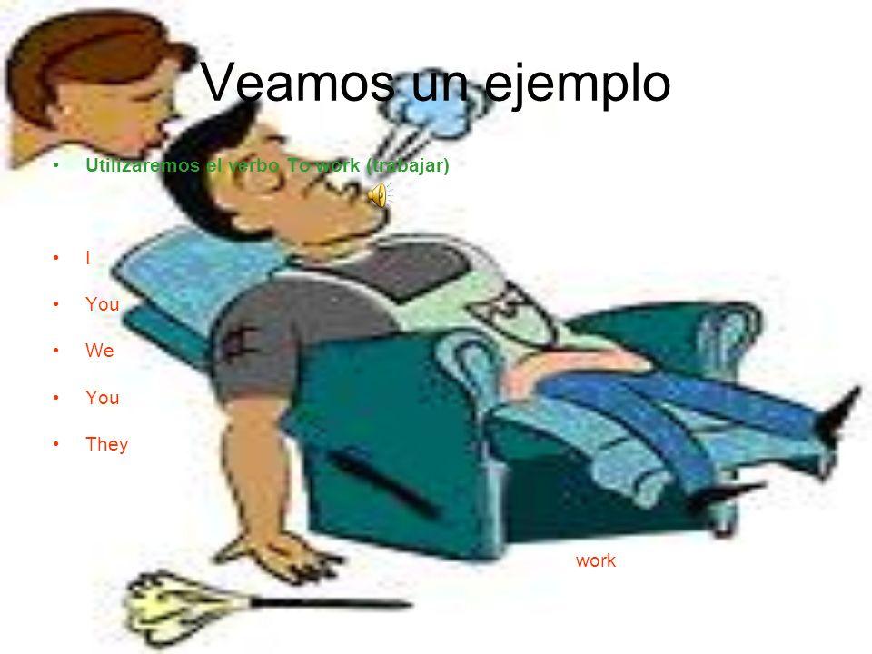 Veamos un ejemplo Utilizaremos el verbo To work (trabajar) I You We