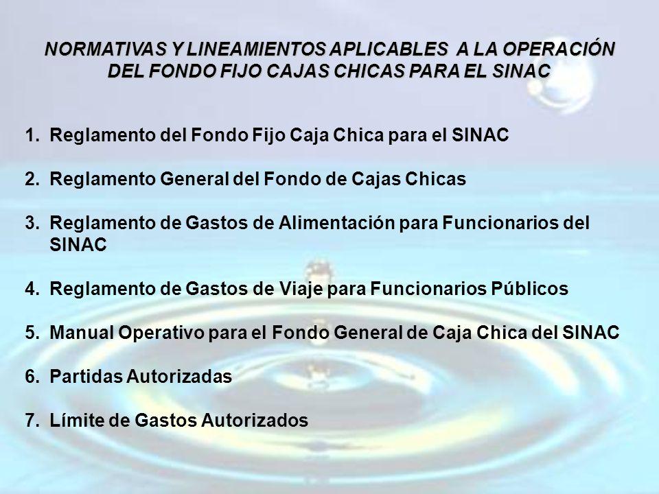 NORMATIVAS Y LINEAMIENTOS APLICABLES A LA OPERACIÓN DEL FONDO FIJO CAJAS CHICAS PARA EL SINAC