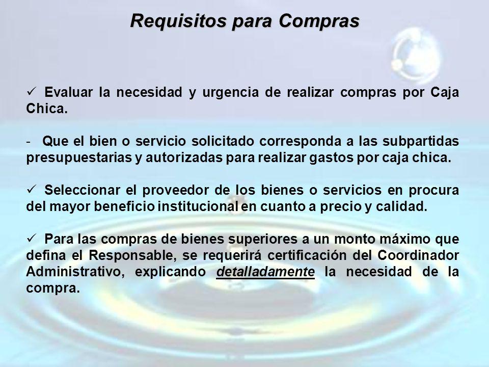 Requisitos para Compras