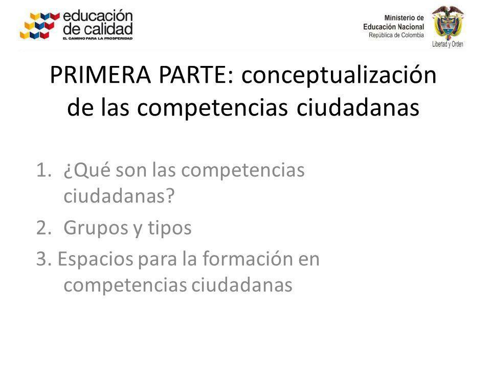 PRIMERA PARTE: conceptualización de las competencias ciudadanas