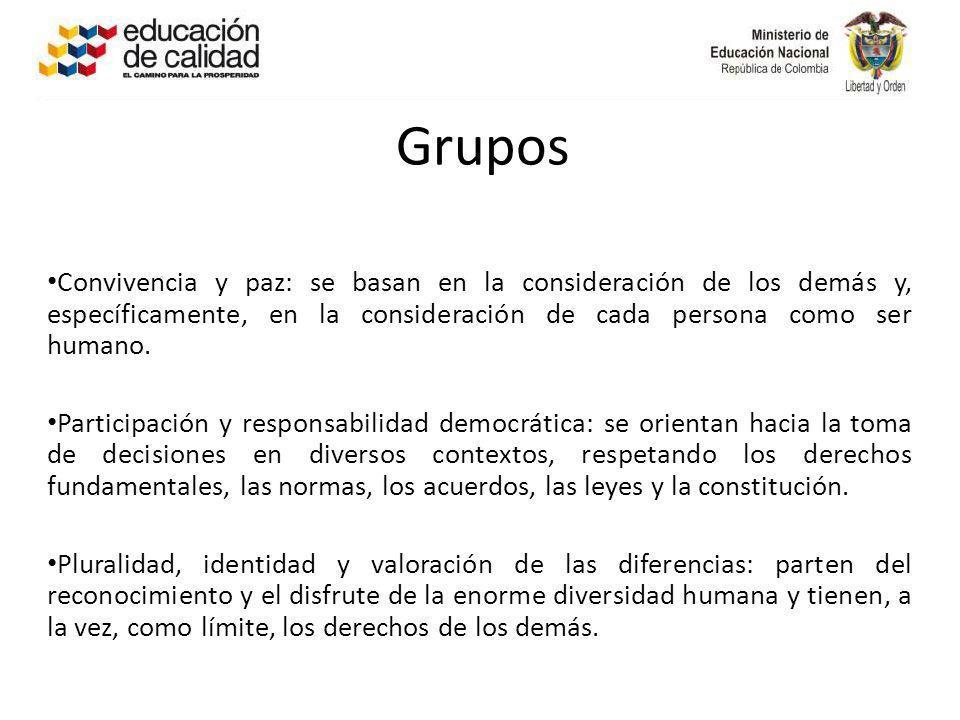 Grupos Convivencia y paz: se basan en la consideración de los demás y, específicamente, en la consideración de cada persona como ser humano.
