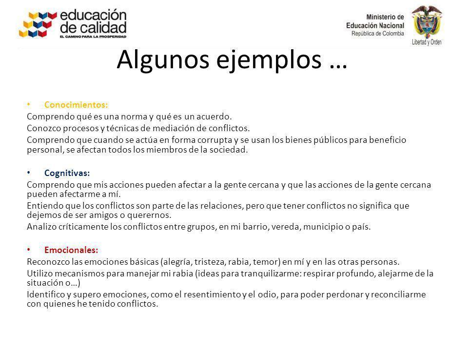 Algunos ejemplos … Conocimientos: