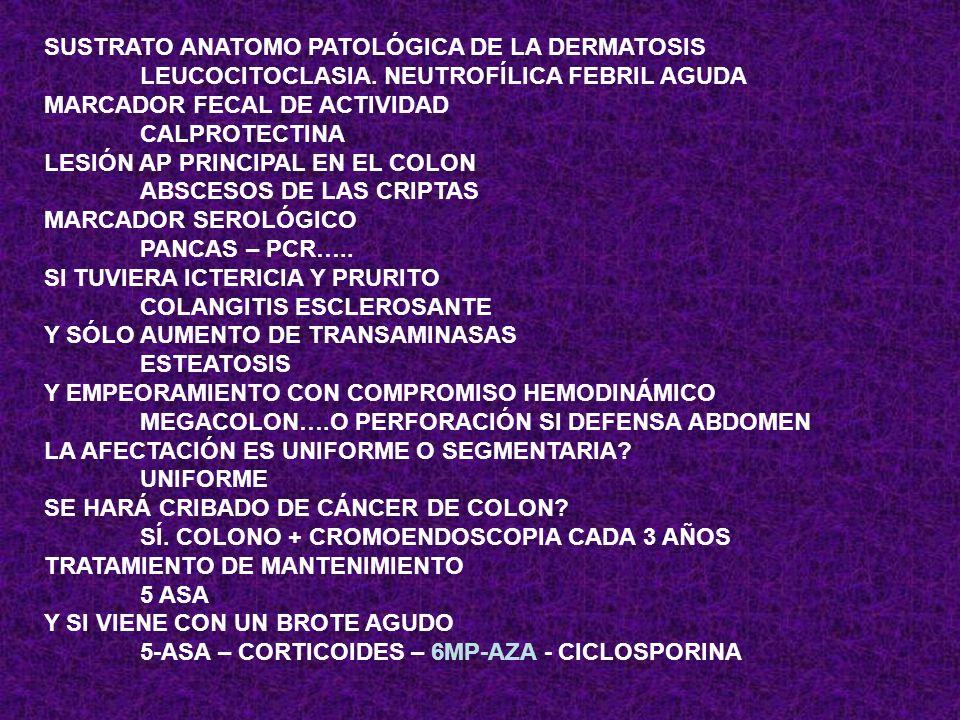 SUSTRATO ANATOMO PATOLÓGICA DE LA DERMATOSIS