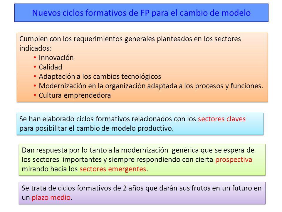 Nuevos ciclos formativos de FP para el cambio de modelo